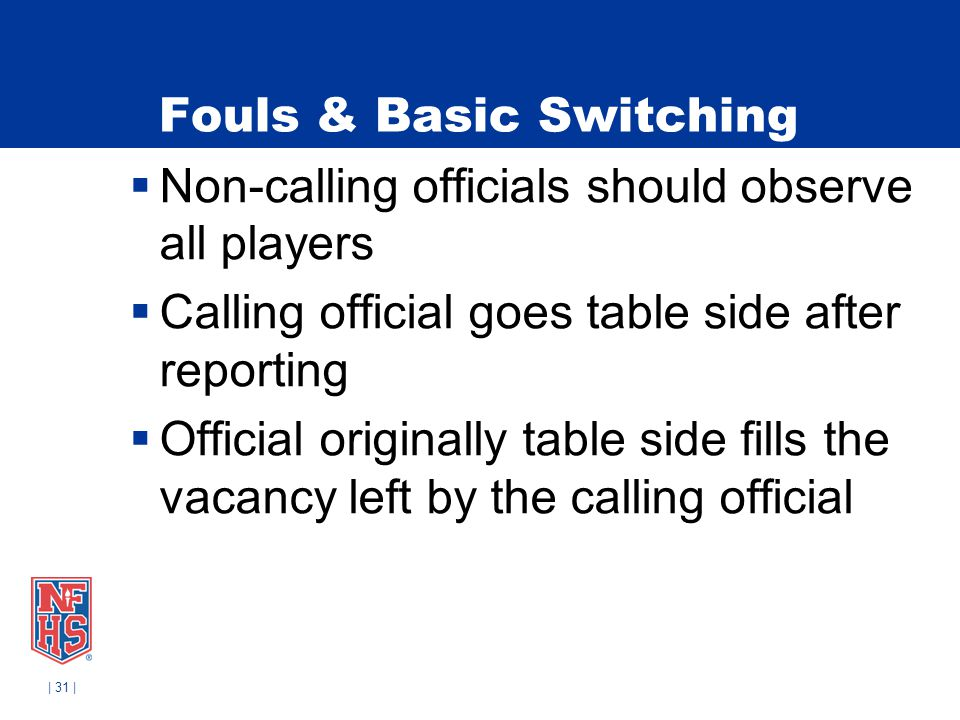 | 31 | Fouls & Basic Switching Non-calling officials should observe all players Calling official goes table side after reporting Official originally t
