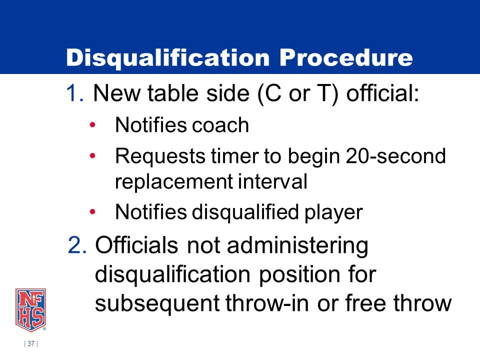 | 37 | Disqualification Procedure 1.New table side (C or T) official: Notifies coach Requests timer to begin 20-second replacement interval Notifies d