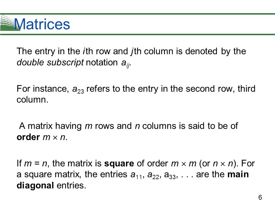 7 Example 1 – Order of Matrices Determine the order of each matrix.