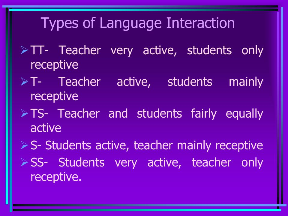 Types of Language Interaction TT- Teacher very active, students only receptive T- Teacher active, students mainly receptive TS- Teacher and students f