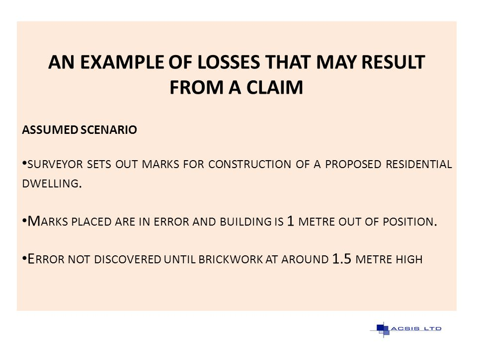 AN EXAMPLE OF LOSSES THAT MAY RESULT FROM A CLAIM ASSUMED SCENARIO SURVEYOR SETS OUT MARKS FOR CONSTRUCTION OF A PROPOSED RESIDENTIAL DWELLING. M ARKS