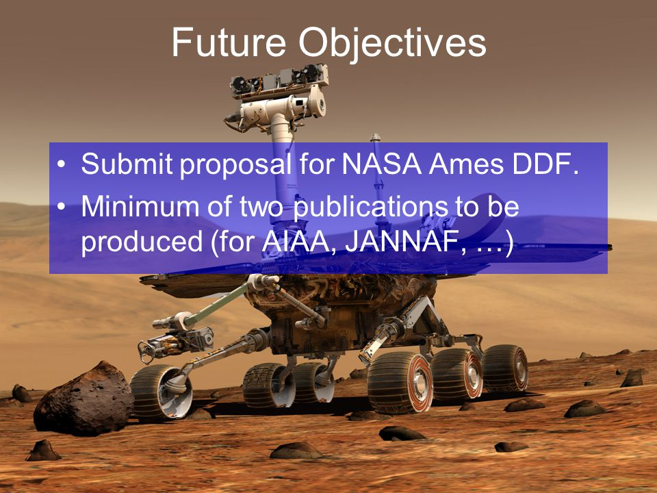 Future Objectives Submit proposal for NASA Ames DDF.