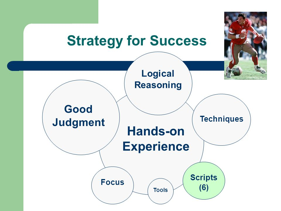 Strategy for Success Scripts (6) Tools Techniques Hands-on Experience Good Judgment Focus Logical Reasoning