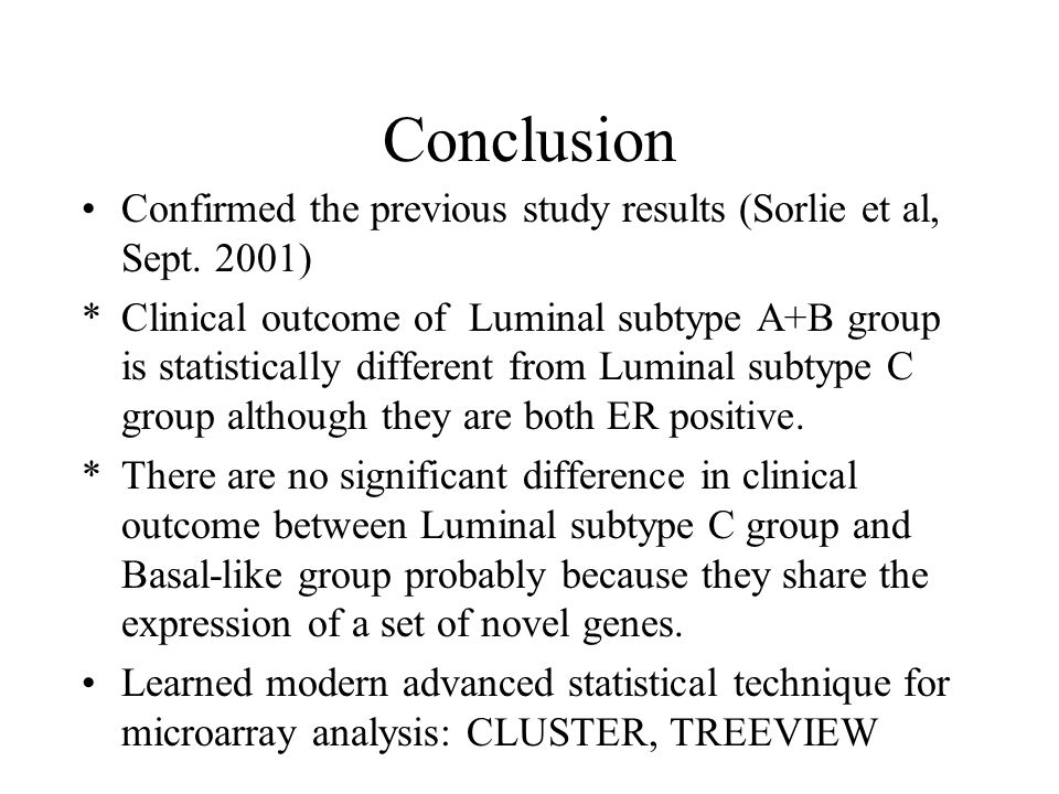 Conclusion Confirmed the previous study results (Sorlie et al, Sept.
