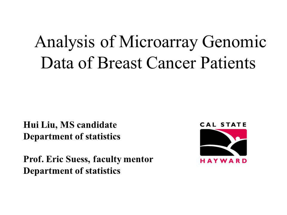 Analysis of Microarray Genomic Data of Breast Cancer Patients Hui Liu, MS candidate Department of statistics Prof.
