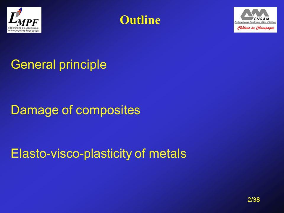 13/38 Outline General principle Damage of composites Elasto-visco-plasticity of metals