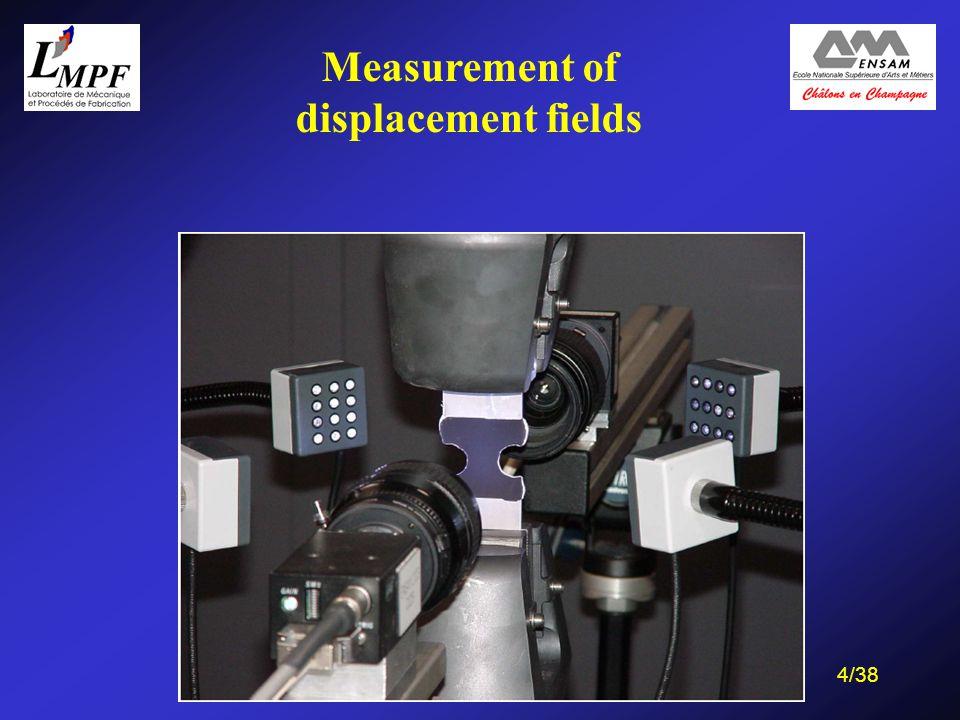 35/38 Application on a heterogeneous specimen (with Prof. M. Sutton, USC) Zone of FSW