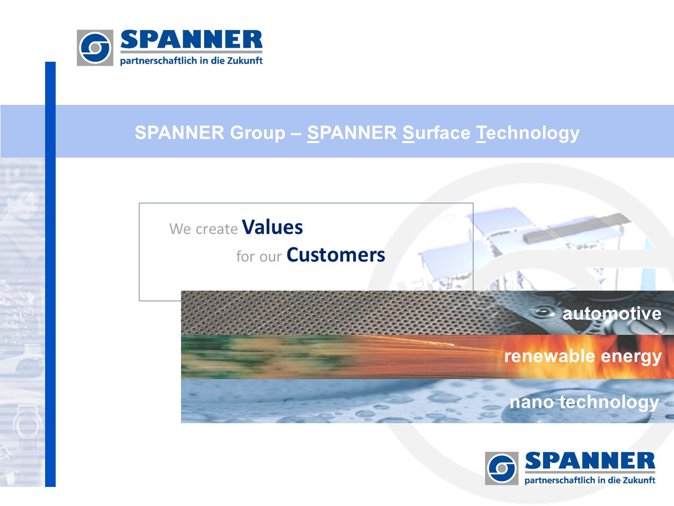 SPANNER Group – SPANNER Surface Technology We create Values for our Customers automotive renewable energy nano technology
