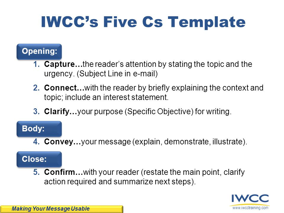 www.iwcctraining.com IWCCs Five Cs Template Opening: 1.Capture…the readers attention by stating the topic and the urgency. (Subject Line in e-mail) 2.