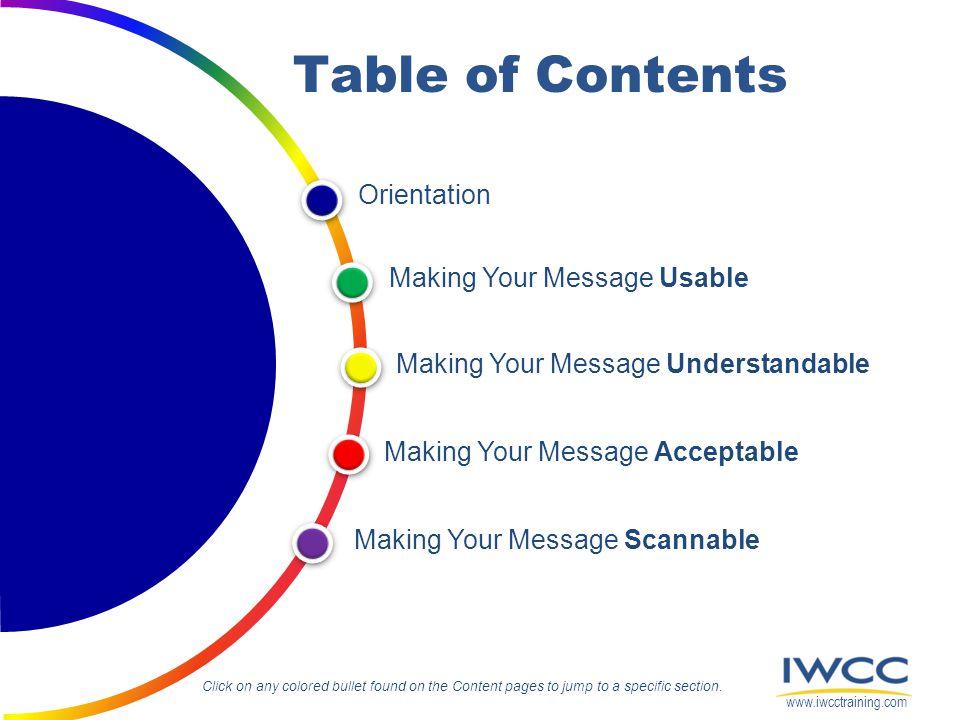 Orientation Making Your Message Understandable Making Your Message Acceptable Making Your Message Scannable Making Your Message Usable Table of Conten