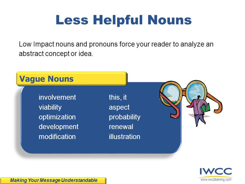 www.iwcctraining.com Vague Nouns Less Helpful Nouns involvement viability optimization development modification this, it aspect probability renewal il
