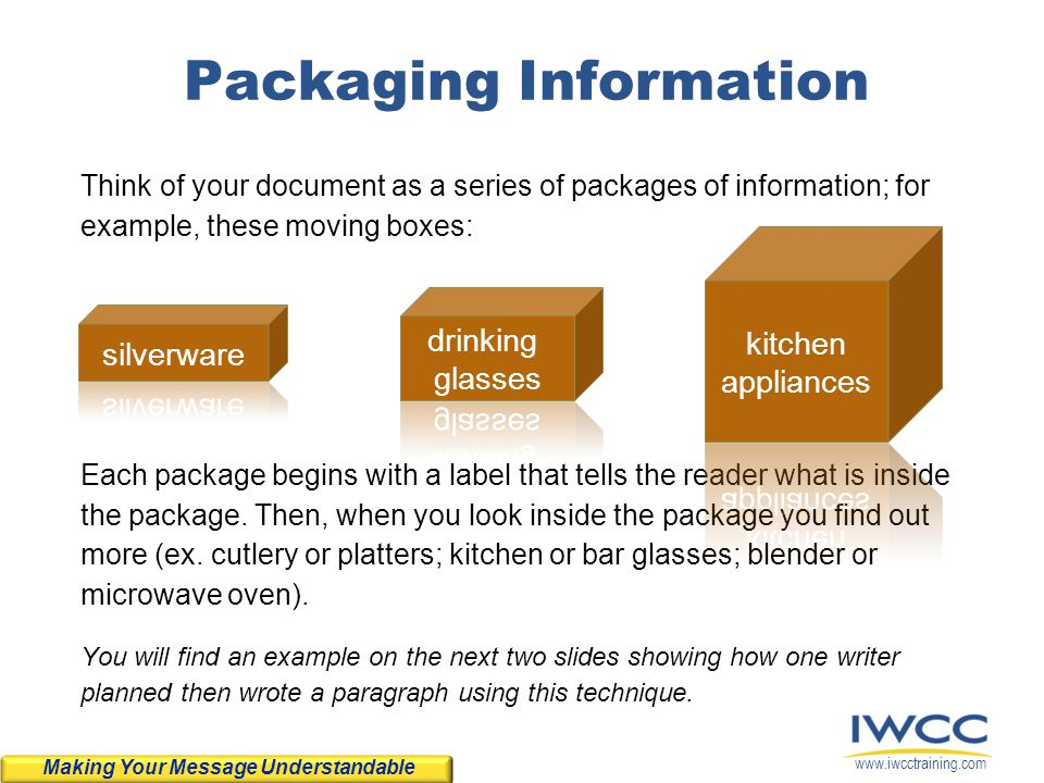 www.iwcctraining.com Packaging Information Think of your document as a series of packages of information; for example, these moving boxes: Each packag