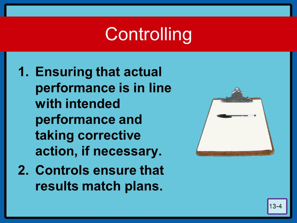 13-5 Controlling When performance and standards deviate from the plan, the supervisor must carry out the controlling function by taking corrective action, which may involve establishing new plans and different standards.