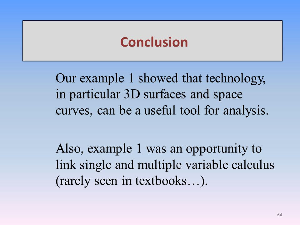 Conclusion Our example 1 showed that technology, in particular 3D surfaces and space curves, can be a useful tool for analysis.