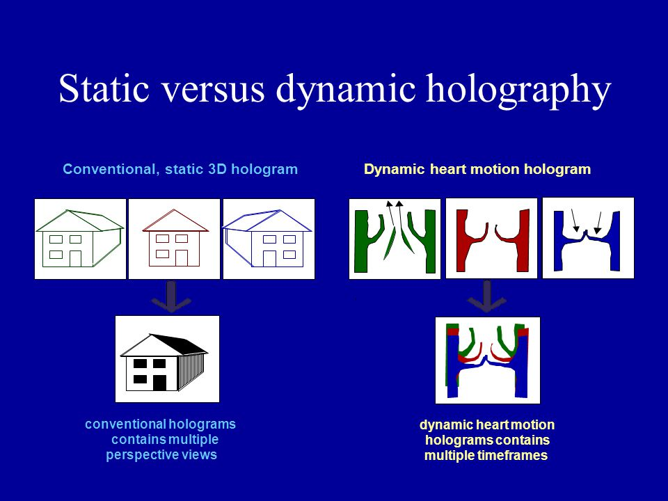 Static versus dynamic holography Conventional, static 3D hologram conventional holograms contains multiple perspective views Dynamic heart motion holo