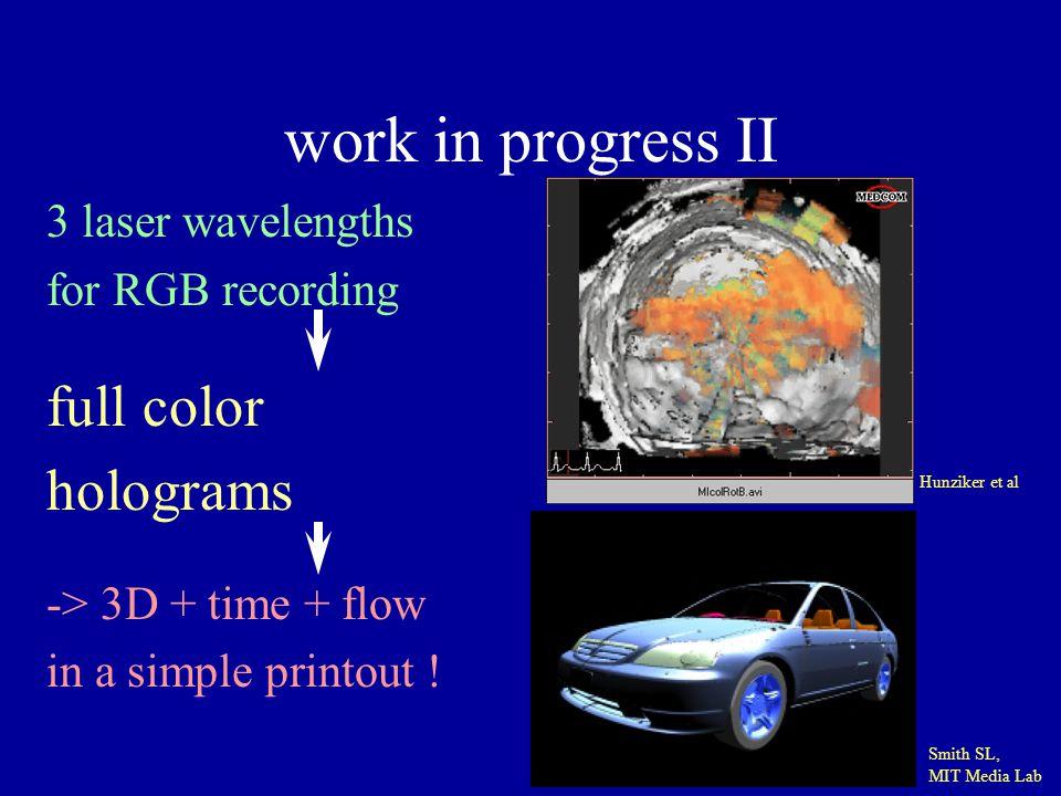 work in progress II 3 laser wavelengths for RGB recording full color holograms -> 3D + time + flow in a simple printout ! Hunziker et al Smith SL, MIT