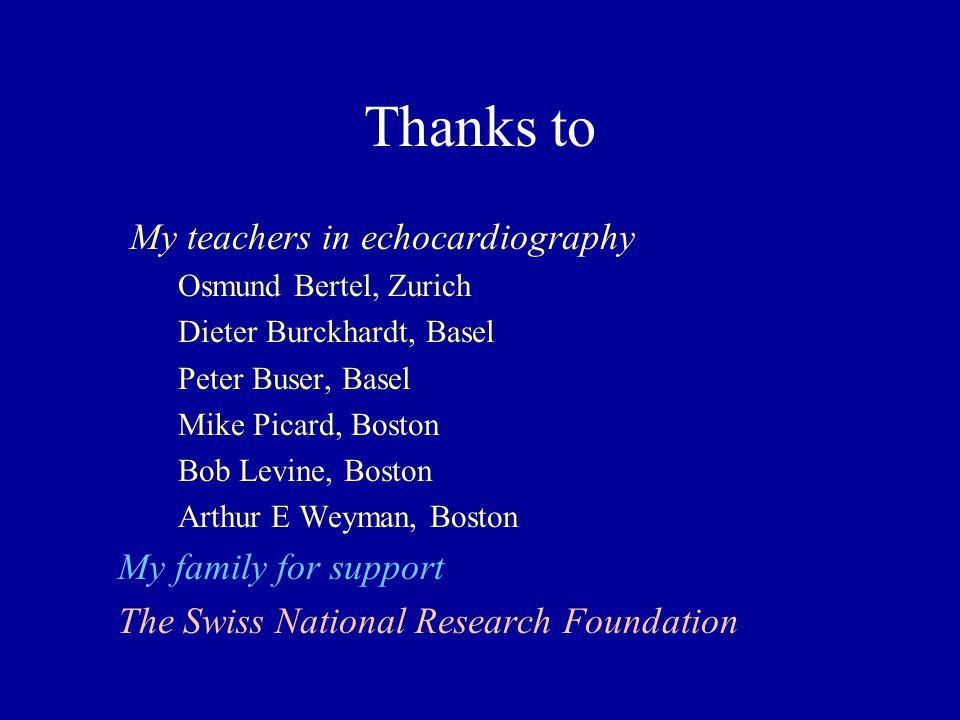 Thanks to My teachers in echocardiography Osmund Bertel, Zurich Dieter Burckhardt, Basel Peter Buser, Basel Mike Picard, Boston Bob Levine, Boston Art