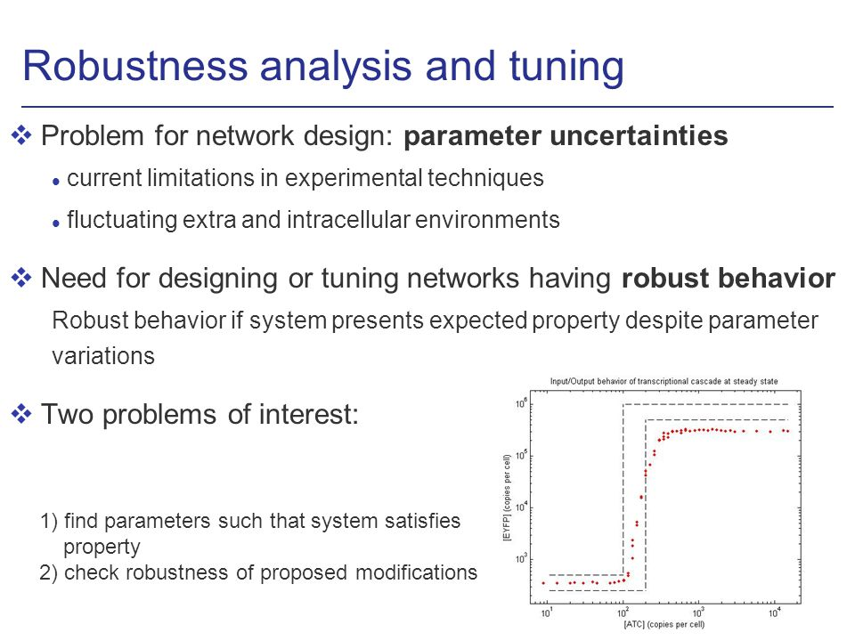 Robustness analysis and tuning vProblem for network design: parameter uncertainties l current limitations in experimental techniques l fluctuating extra and intracellular environments vNeed for designing or tuning networks having robust behavior Robust behavior if system presents expected property despite parameter variations vTwo problems of interest: 1) find parameters such that system satisfies property 2) check robustness of proposed modifications