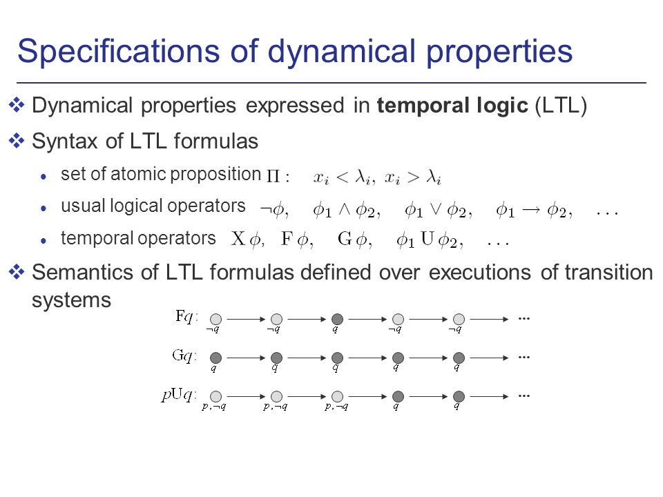 Specifications of dynamical properties vDynamical properties expressed in temporal logic (LTL) vSyntax of LTL formulas l set of atomic proposition usual logical operators temporal operators, vSemantics of LTL formulas defined over executions of transition systems...