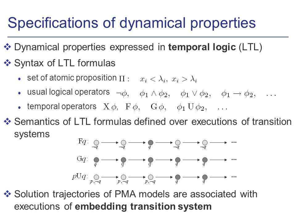 Specifications of dynamical properties vDynamical properties expressed in temporal logic (LTL) vSyntax of LTL formulas l set of atomic proposition usual logical operators temporal operators, vSemantics of LTL formulas defined over executions of transition systems vSolution trajectories of PMA models are associated with executions of embedding transition system...