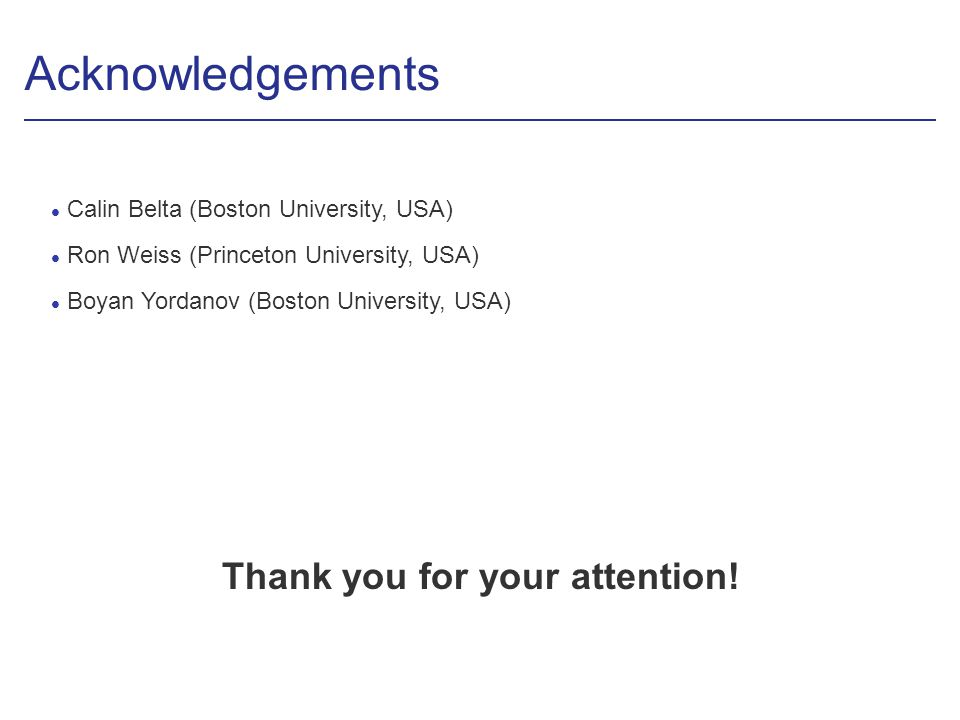 Acknowledgements Thank you for your attention.
