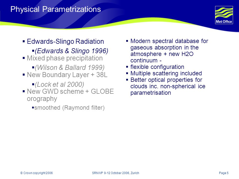 Page 5© Crown copyright 2006SRNWP 9-12 October 2006, Zurich Physical Parametrizations Edwards-Slingo Radiation (Edwards & Slingo 1996) Mixed phase precipitation (Wilson & Ballard 1999) New Boundary Layer + 38L (Lock et al 2000) New GWD scheme + GLOBE orography smoothed (Raymond filter) Modern spectral database for gaseous absorption in the atmosphere + new H2O continuum - flexible configuration Multiple scattering included Better optical properties for clouds inc.
