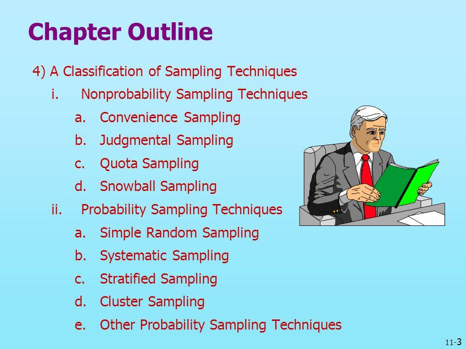 11- 3 Chapter Outline 4) A Classification of Sampling Techniques i.Nonprobability Sampling Techniques a.Convenience Sampling b.Judgmental Sampling c.Q