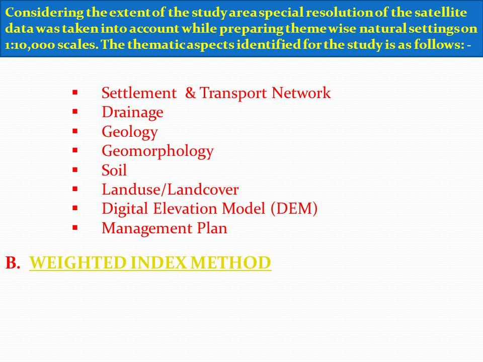 Settlement & Transport Network Drainage Geology Geomorphology Soil Landuse/Landcover Digital Elevation Model (DEM) Management Plan B. WEIGHTED INDEX M