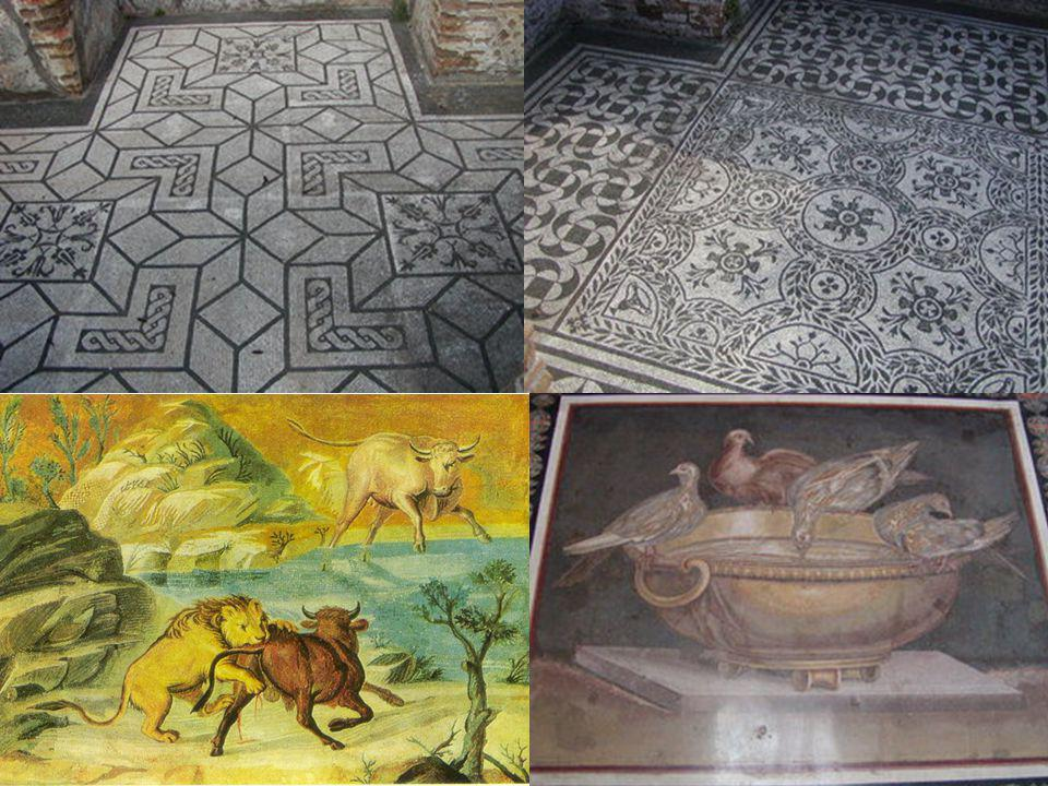 Some fine example of geometric patterns in mosaic black/white floors of Hadrians Villa