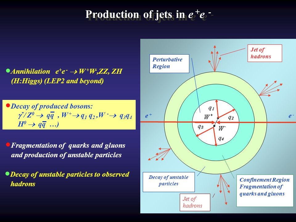 W + e + e - W - Decay of unstable particles Confinement Region Fragmentation of quarks and gluons Jet of hadrons Perturbative Region Production of jet