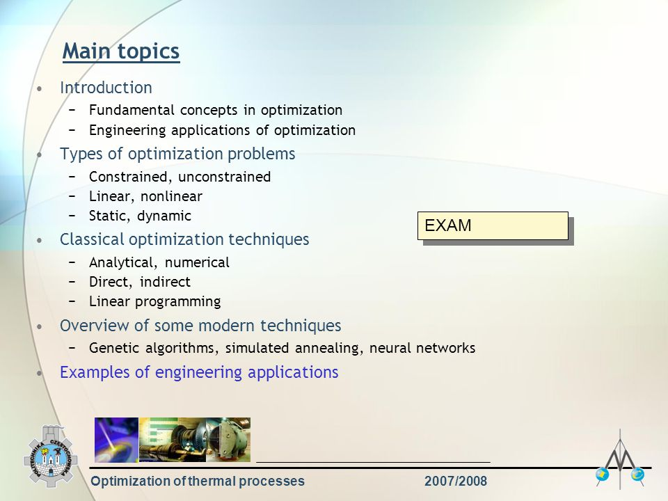 Optimization of thermal processes2007/2008 Literature S.