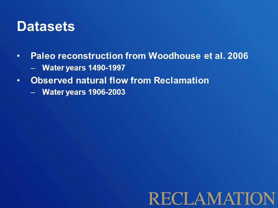 Datasets Paleo reconstruction from Woodhouse et al.
