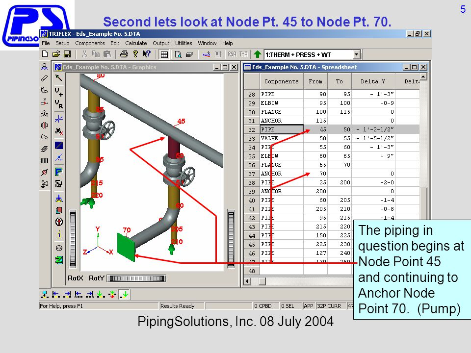 Second lets look at Node Pt. 45 to Node Pt. 70. TRIFLEX® WINDOWS PipingSolutions, Inc.