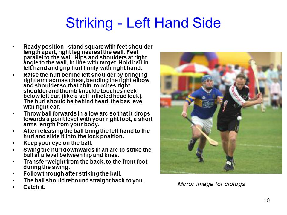10 Striking - Left Hand Side Ready position - stand square with feet shoulder length apart, right leg nearest the wall. Feet parallel to the wall. Hip