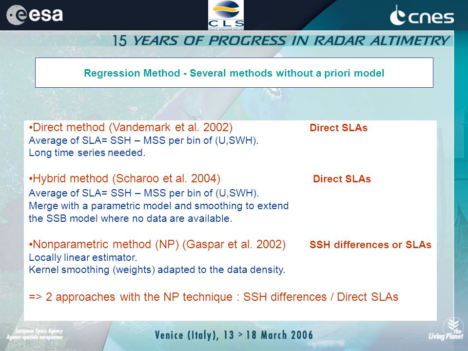 Regression Method - Several methods without a priori model Direct method (Vandemark et al.