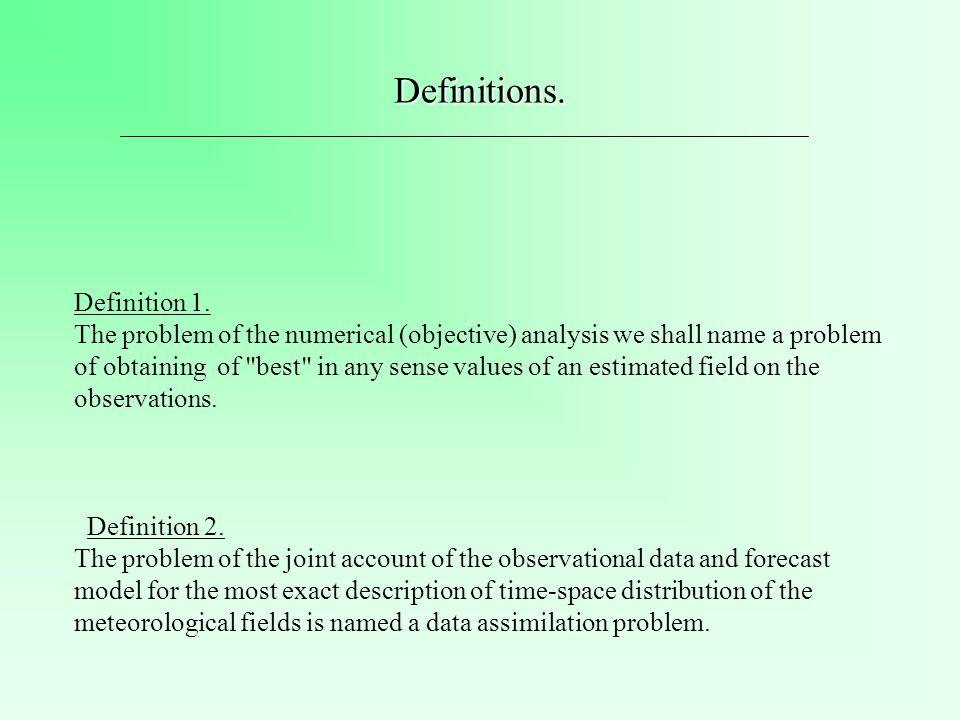The Data Assimilation Problem Variational approach Kalman filter 4DVAR RRKF(redused rank Kalman filter) ECMWF, Meteo France (M.Fisher, E.Andersson): Canada, Atmospheric Environment Service (H.Mitchel, P.L.Houtekmer): Ensemble Kalman Filter NASA, DAO (Data Assimilation Office) (D.Dee, S.Cohn): Suboptimal algorithm (1-D, 2-D models)