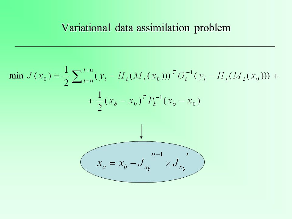 Variational data assimilation problem