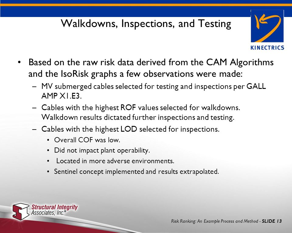 Risk Ranking: An Example Process and Method - SLIDE 13 Walkdowns, Inspections, and Testing Based on the raw risk data derived from the CAM Algorithms and the IsoRisk graphs a few observations were made: –MV submerged cables selected for testing and inspections per GALL AMP X1.E3.