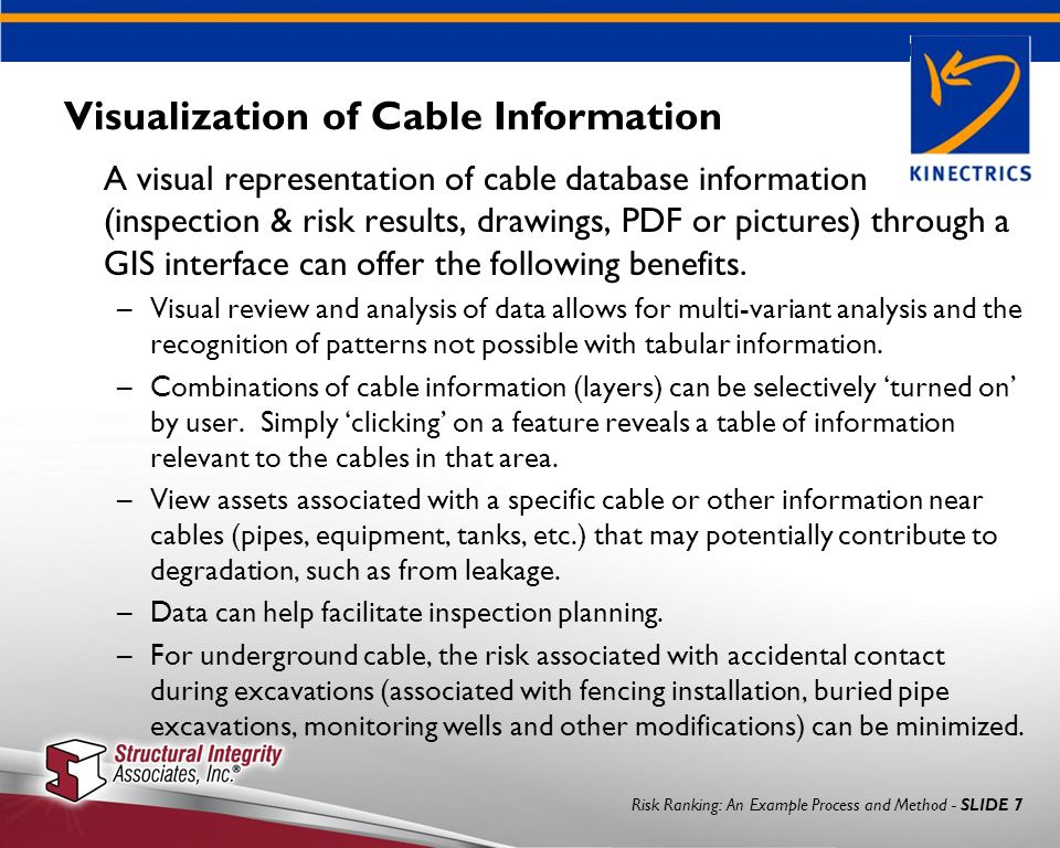 Risk Ranking: An Example Process and Method - SLIDE 7 Visualization of Cable Information A visual representation of cable database information (inspection & risk results, drawings, PDF or pictures) through a GIS interface can offer the following benefits.