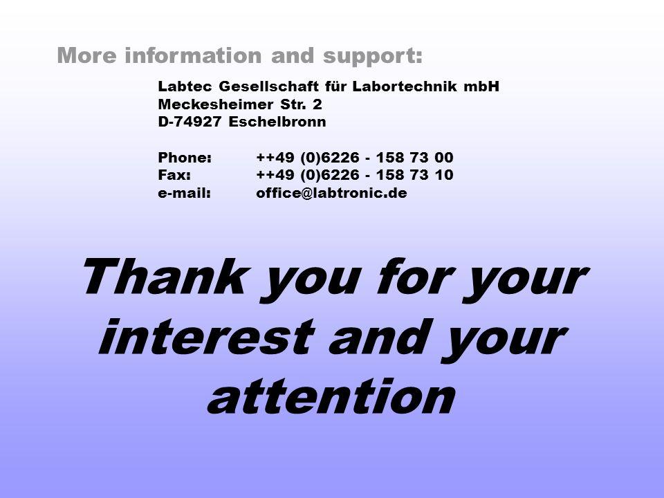More information and support: Labtec Gesellschaft für Labortechnik mbH Meckesheimer Str.