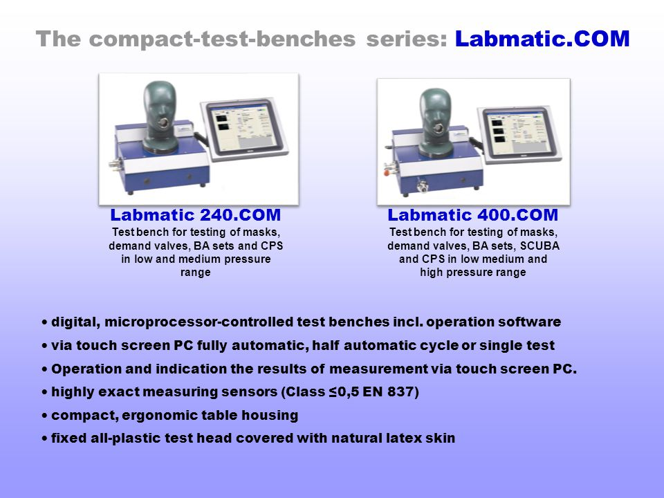 The compact-test-benches series: Labmatic.COM digital, microprocessor-controlled test benches incl. operation software via touch screen PC fully autom