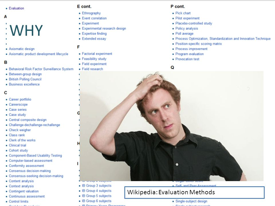WHY Wikipedia: Evaluation Methods