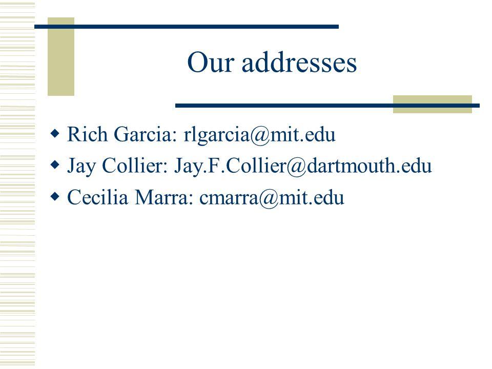 Our addresses Rich Garcia: rlgarcia@mit.edu Jay Collier: Jay.F.Collier@dartmouth.edu Cecilia Marra: cmarra@mit.edu