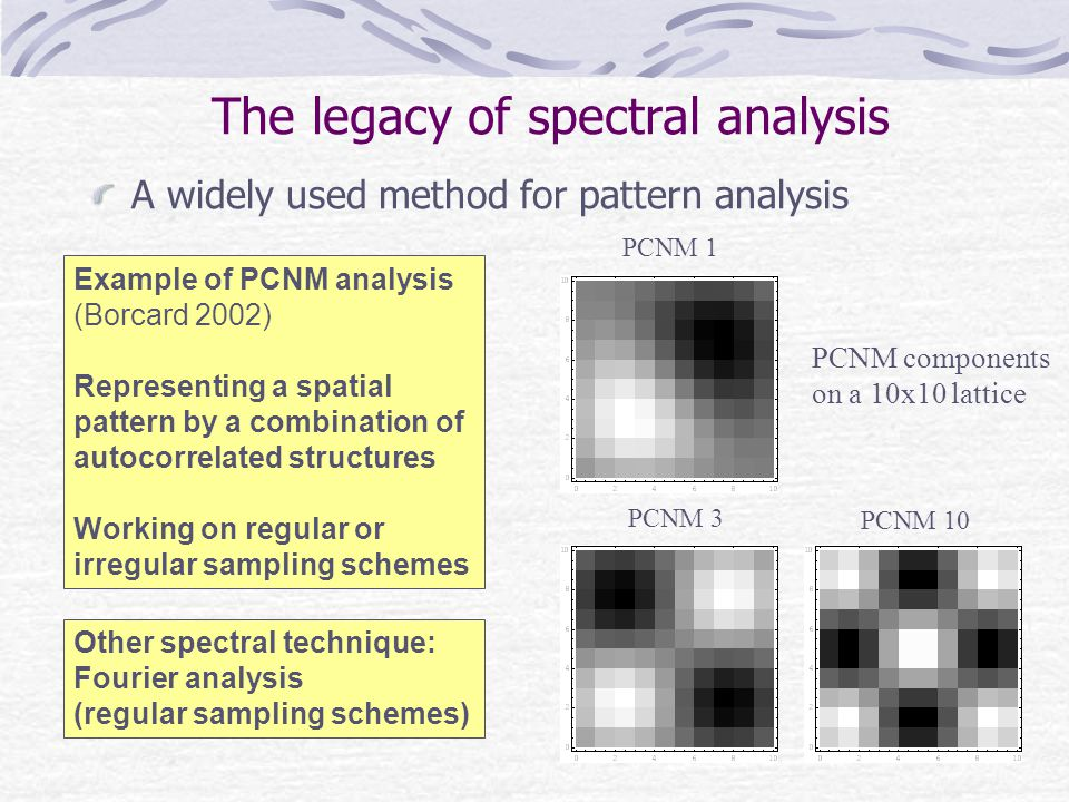 The legacy of spectral analysis A widely used method for pattern analysis Example of PCNM analysis (Borcard 2002) Representing a spatial pattern by a combination of autocorrelated structures Working on regular or irregular sampling schemes Other spectral technique: Fourier analysis (regular sampling schemes) PCNM 3 PCNM 10 PCNM 1 PCNM components on a 10x10 lattice