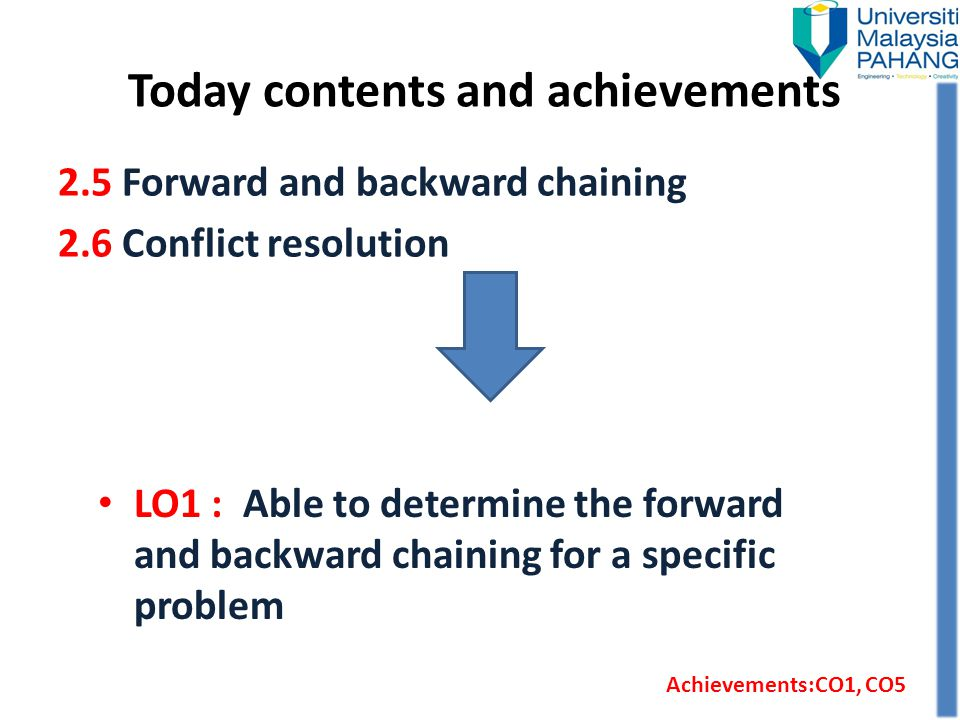 Today contents and achievements LO1 : Able to determine the forward and backward chaining for a specific problem 2.5 Forward and backward chaining 2.6