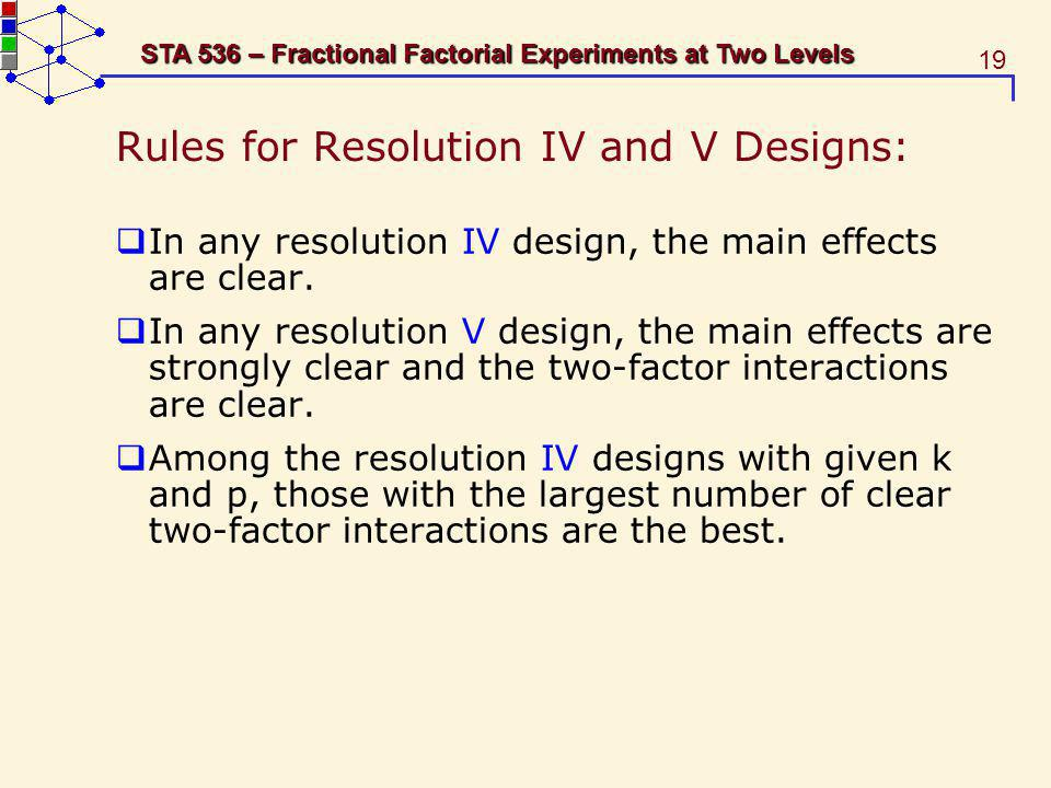 19 STA 536 – Fractional Factorial Experiments at Two Levels Rules for Resolution IV and V Designs: In any resolution IV design, the main effects are c