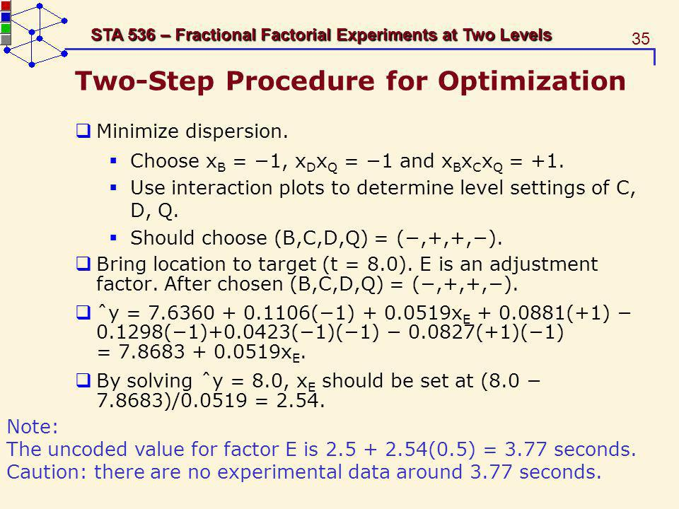 35 STA 536 – Fractional Factorial Experiments at Two Levels Two-Step Procedure for Optimization Minimize dispersion. Choose x B = 1, x D x Q = 1 and x