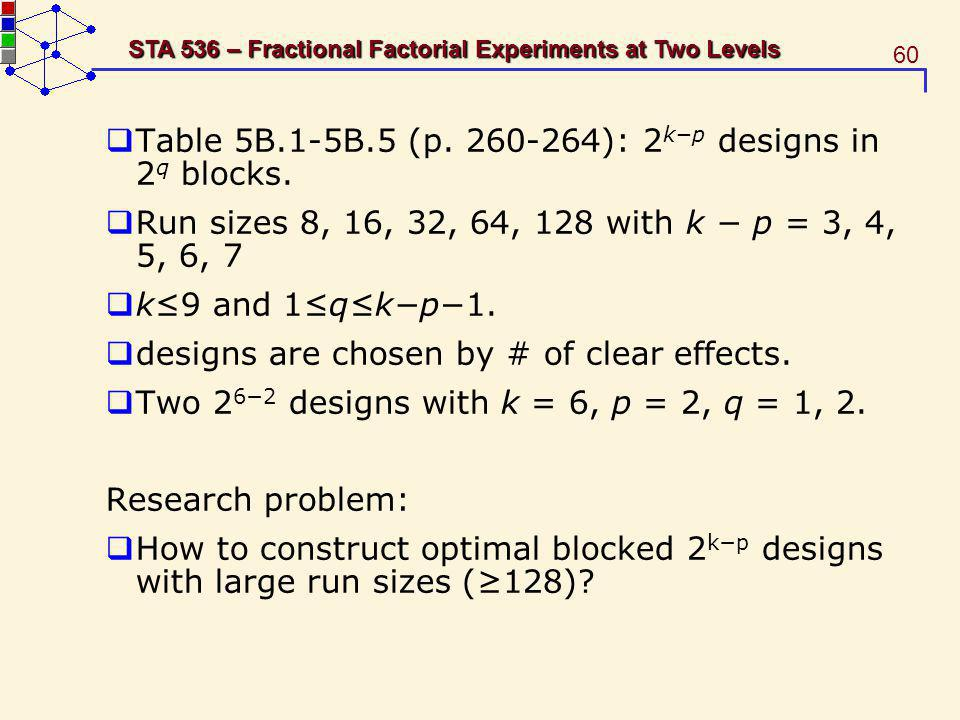 60 STA 536 – Fractional Factorial Experiments at Two Levels Table 5B.1-5B.5 (p. 260-264): 2 kp designs in 2 q blocks. Run sizes 8, 16, 32, 64, 128 wit