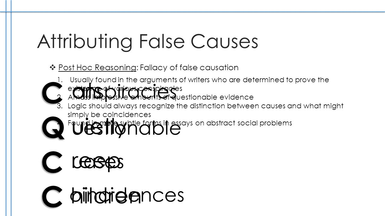 Attributing False Causes Post Hoc Reasoning: Fallacy of false causation C Q C C 1.