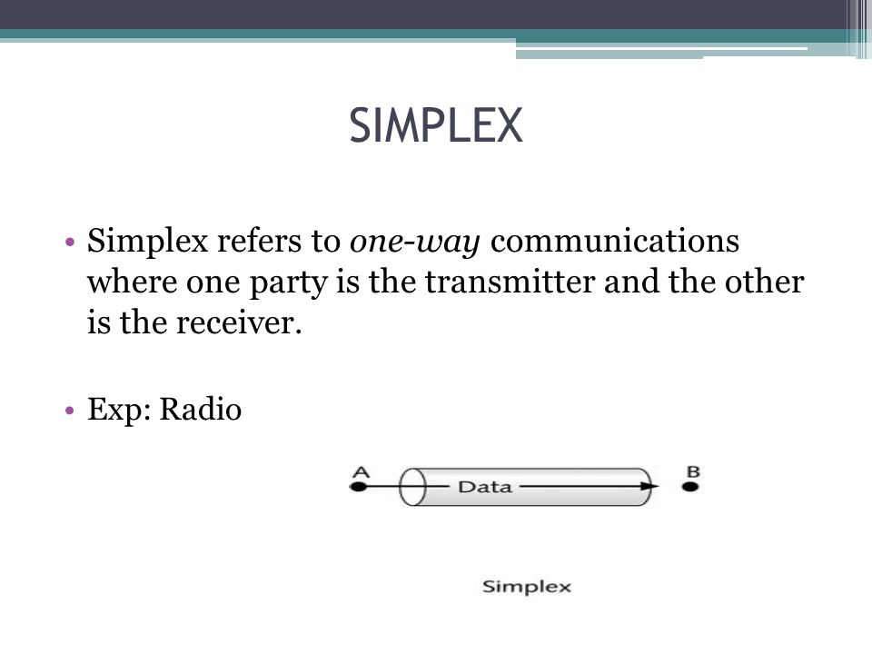 SIMPLEX Simplex refers to one-way communications where one party is the transmitter and the other is the receiver. Exp: Radio